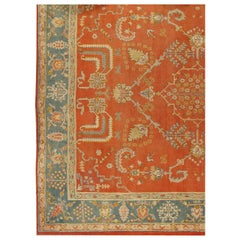 Antique Oushak Carpet, Handmade Oriental Rug, Coral Field, Blue Green Border