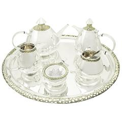 Sterling Silver Six-Piece Tea and Coffee Service, Vintage Elizabeth II