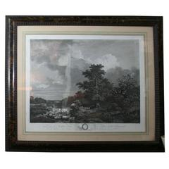 H. Fragonard Engraving in Tortoise and Wood Frame