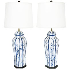 Pair of Chapman White and Blue Ceramic Ginger Jar Table Lamps