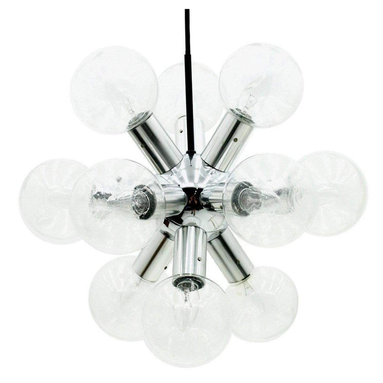 Kalmar Sputnik Chandelier Atomic Lamp in Glass and Chrome 1960s