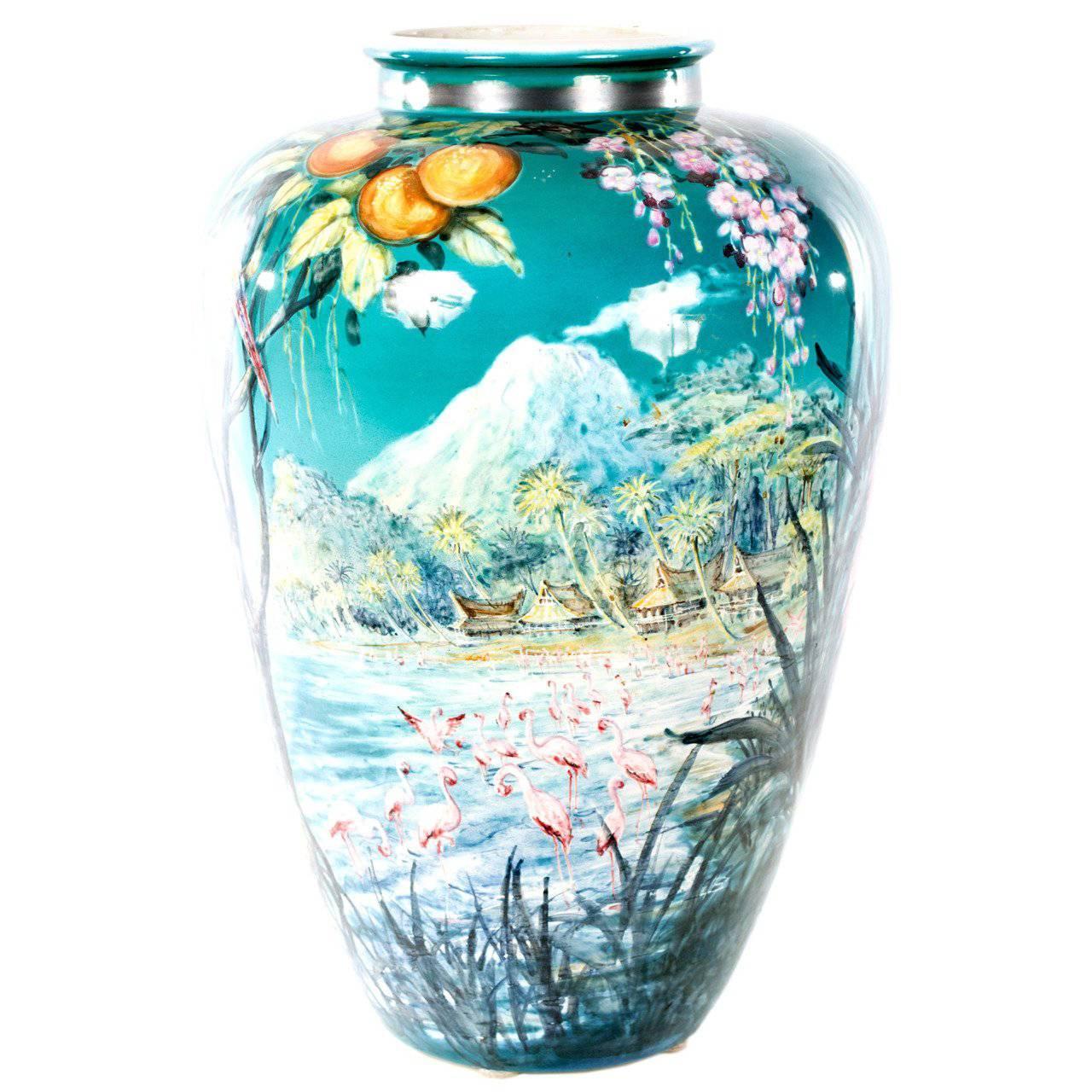 Colorful German Baluster Vase by Ulmer Keramik