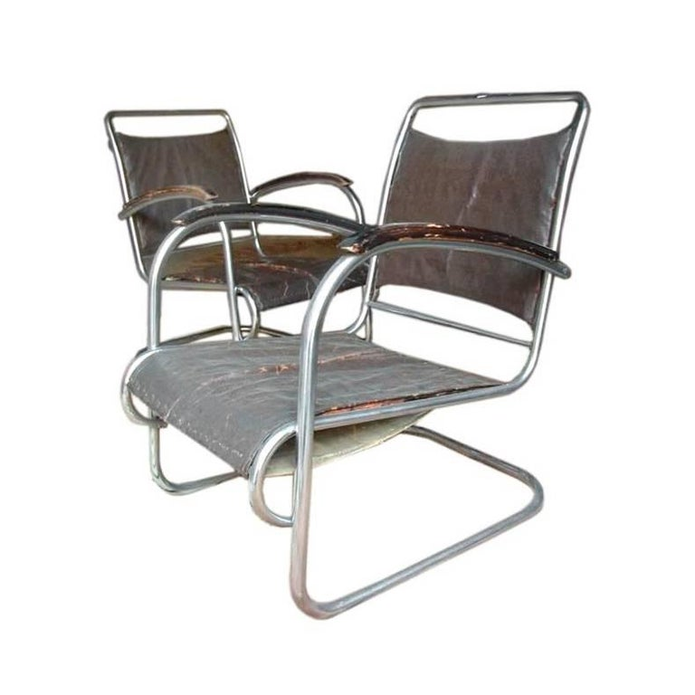 Pair of Tubular Armchairs For Sale