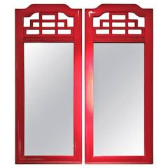 Pair of Red Lacquered Chinese Chippendale Style Mirrors