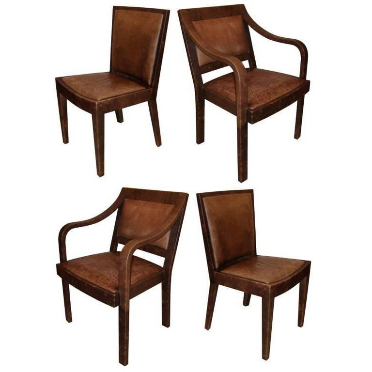 Set of Four Signed Karl Springer Leather Chairs