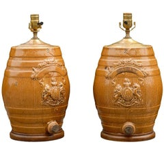 Pair of English Stoneware Spirit Barrel Lamps from the Mid-19th Century