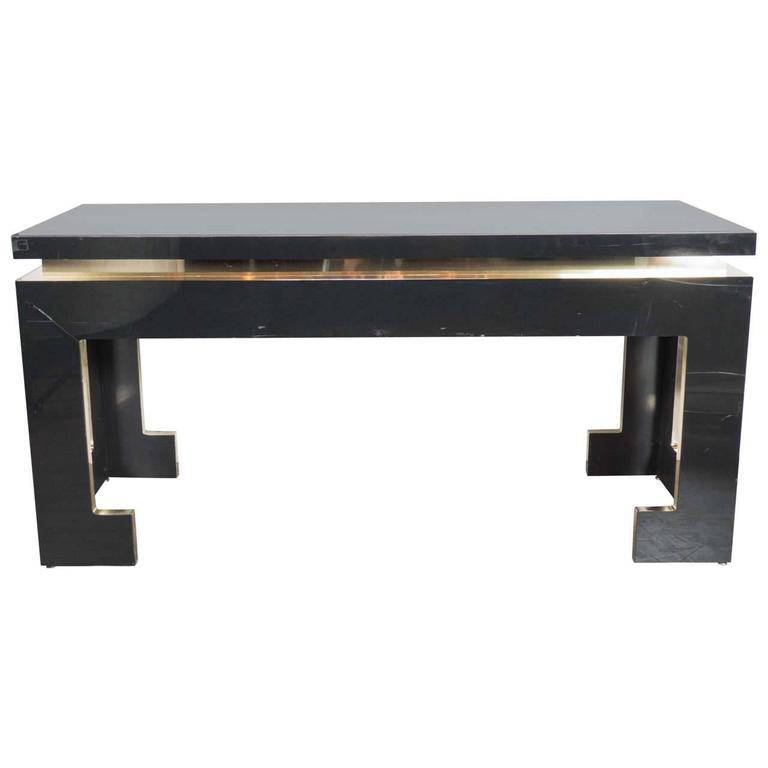 Ultra Chic Mid-Century Modernist Console or Sofa Table with Greek Key Styling