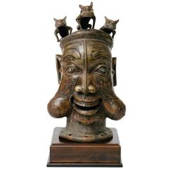 African Tikar Bronze Tribal Art Style Bronze Head