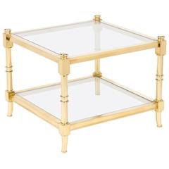 Vintage Brass and Glass Side Table by Maison Raphael