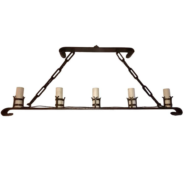 Wrought Iron Horizontal Chandelier