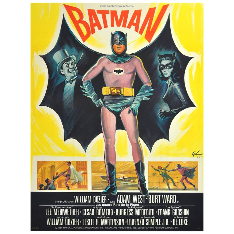 Movie Poster vintage japanese movie posters : Large Original 1966 Movie Poster for Batman Starring Adam ...
