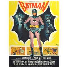Large Original 1966 Movie Poster for Batman Starring Adam West and Burt Ward
