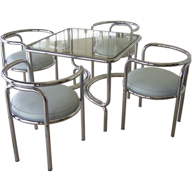 Gae Aulenti Locus Solus Game/Dining Table and Chairs