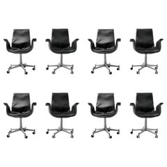 "Preben Fabricius & Jørgen Kastholm Leather ""Bird"" Chairs, Set of Eight"