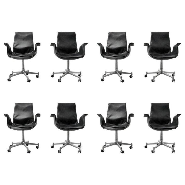 "Preben Fabricius & Jørgen Kastholm Leather ""Bird"" Chairs, Set of Eight"