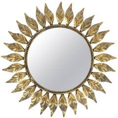 Petit Sunburst Mirror Made from Patinized Brass
