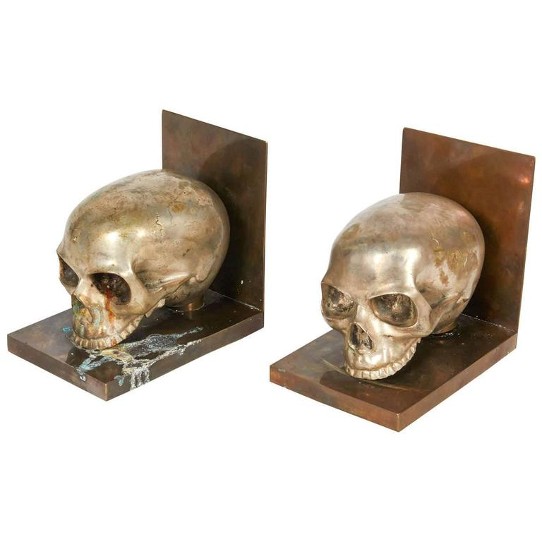 Bronze and Silver Skull Bookends