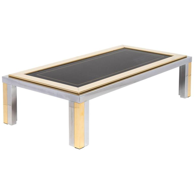 Vintage Romeo Rega Chrome and Brass Coffee Table