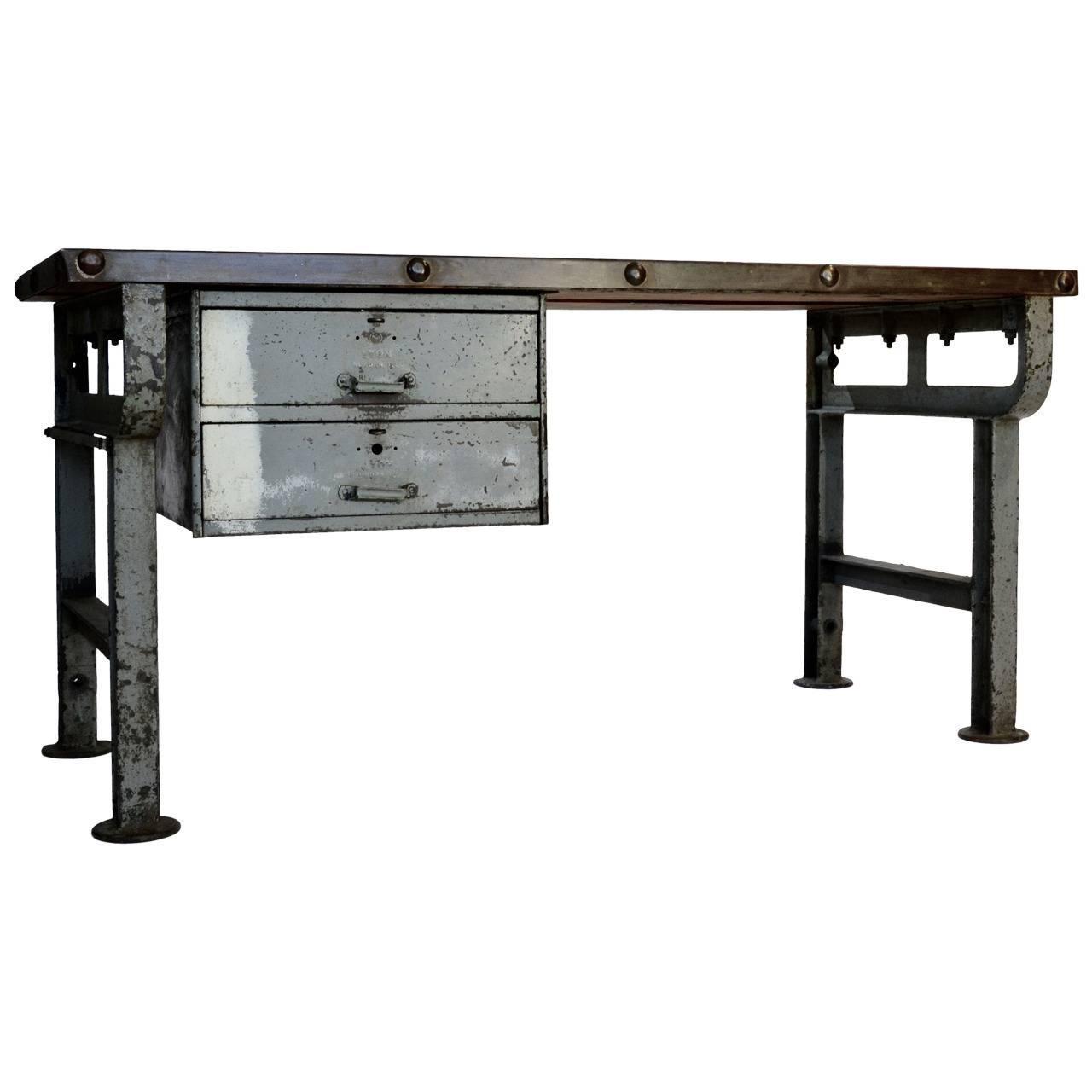 industrial steel work table for sale at 1stdibs. Black Bedroom Furniture Sets. Home Design Ideas