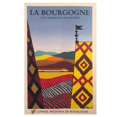 New Wave Style Modern Period French Travel Poster for Burgundy by Villemot, 1984