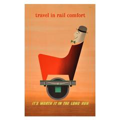 "Original Vintage Mid-Century Modern Advertising Poster, ""Travel in Rail Comfort"""
