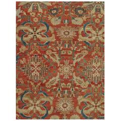 Antique Persian Sultanabad Carpet, Wool Red Oriental Rug Hand Knotted.