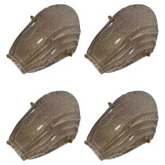 Set of Four Wonderful Vintage Murano Glass Leaf Wall Lights