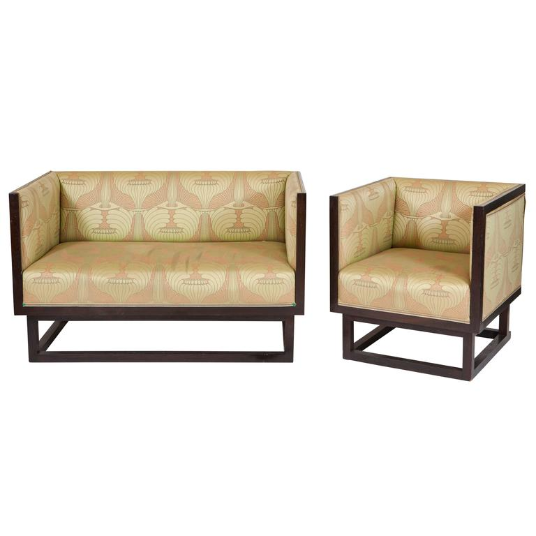 Art Deco Settee and Bergere  For Sale
