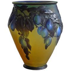 Blue Plum Mold-Blown Cameo Glass Vase by Emile Gallé, circa 1918
