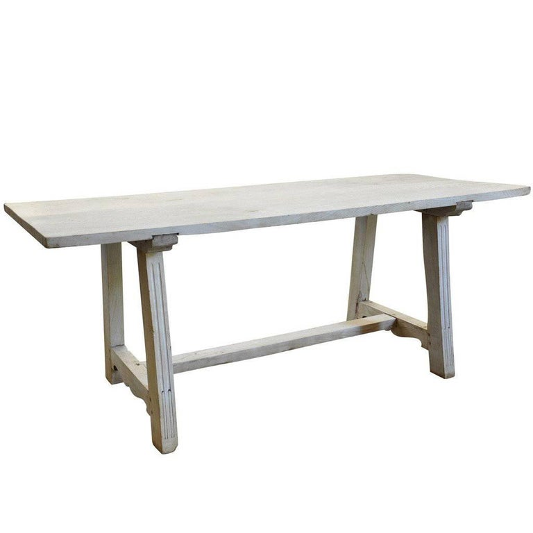 Early 19th Century Italian Farm or Trestle Table in Bleached Chestnut For Sale