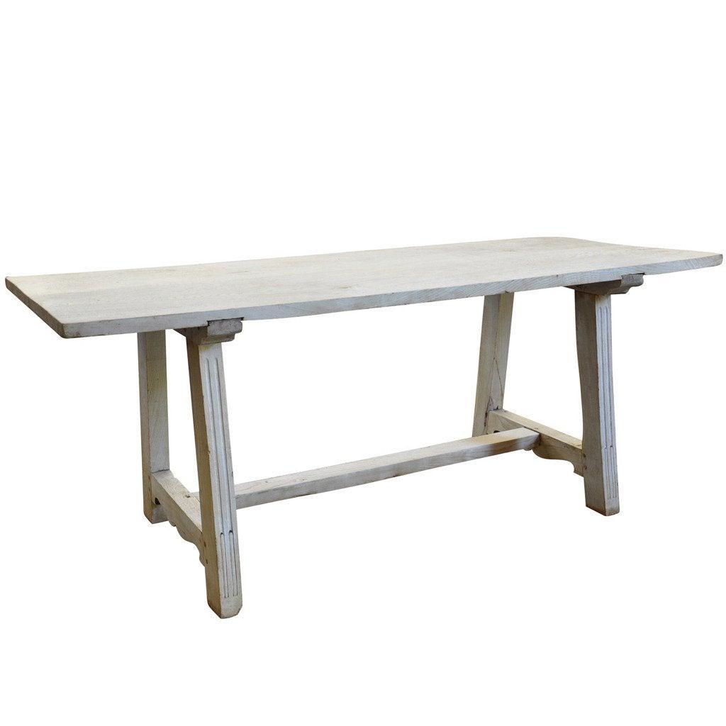 Early 19th Century Italian Farm or Trestle Table in Bleached Chestnut