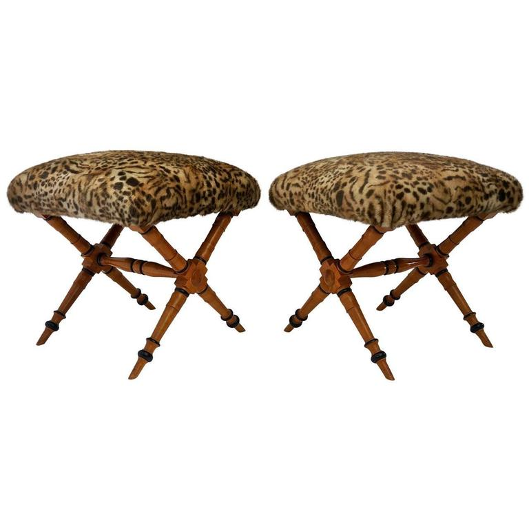 Pair of Vintage Biedermeier Style X-Stools with Faux Fur Upholstery 1