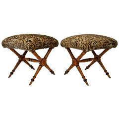 Pair of Vintage Biedermeier Style X-Stools with Faux Fur Upholstery