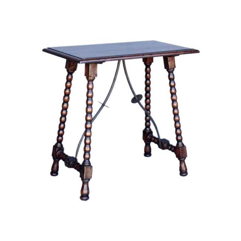 Custom wood side table with iron supports and turned for Iron and wood side table