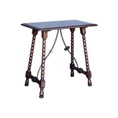 Dos Gallos Custom Wood Side Table with Iron Supports and Turned Bobbin Legs