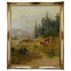"Oil Painting ""Stag with Does"" by Ludwig Skell"