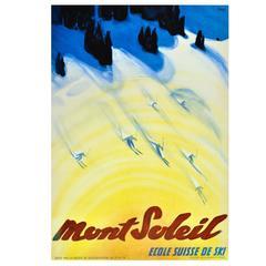 """1940s Skiing Poster """"Mont Soleil Ecole Suisse De Ski (Swiss Ski School)"""""""