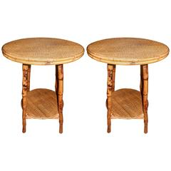 Pair of West Indian Bamboo and Cane Side Tables