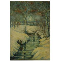 Snow Landscape Oil Painting