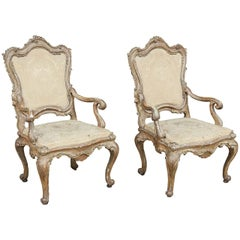17th Century Italian Gold and Silver Leaf Armchairs from Naples, Italy