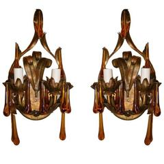 Gilt Metal Sconces with Amber Drops