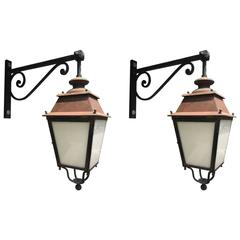 Original Pair of French Street Lanterns on Brackets