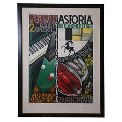 "Authentic Vintage Swiss Stone Lithographic Poster Custom Framed ""Astoria"""
