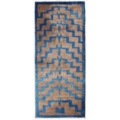 Vintage Turkish Tulu Rug with Brown and Blue Tribal Pattern