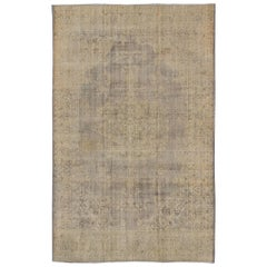 Distressed Turkish Carpet with Floral Design in Taupe, Gray, Brown and Ivory
