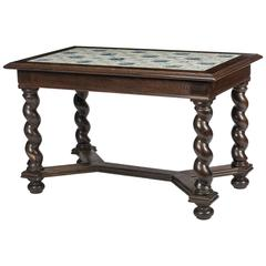 Baroque Style Delft Tile Top Table