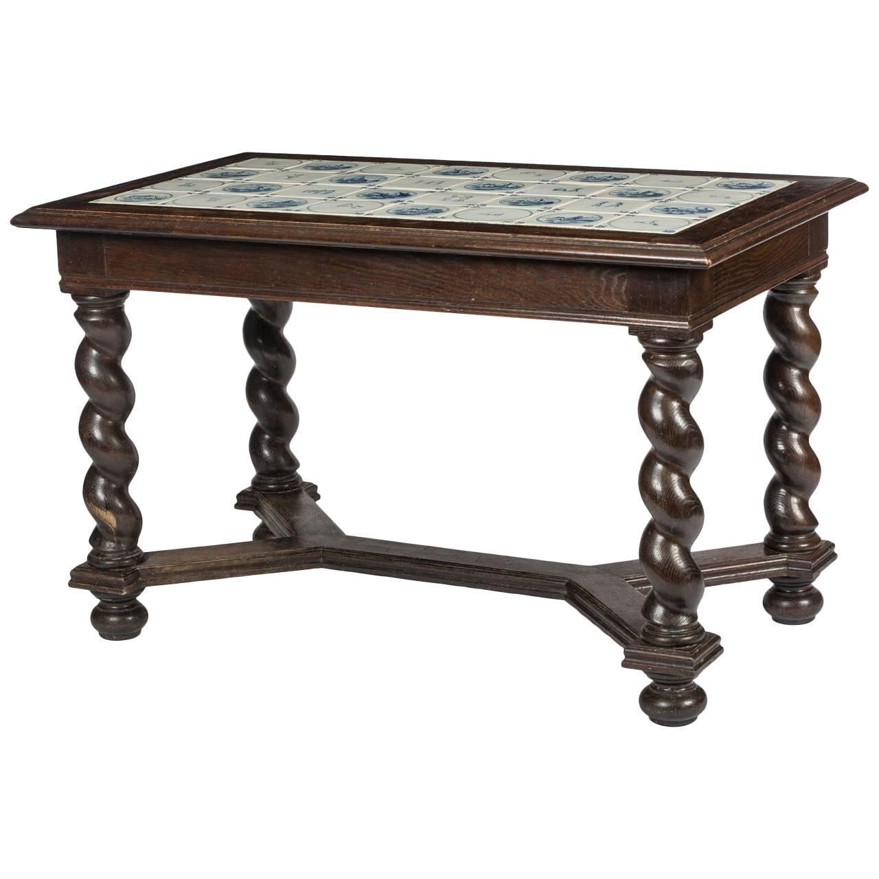 Baroque Style Delft Tile Top Table For Sale At 1stdibs