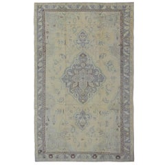 Vintage Oushak Rug in Gray and Butter Yellow, Taupe and Green Colors