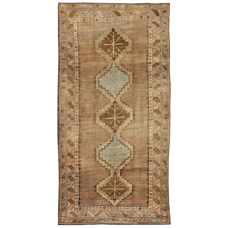 Tribal Turkish Oushak Gallery Rug For Sale