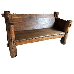 Rustic Solid Jujube Log Bench with Iron Studs